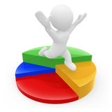 3D character running over pie chart vector illustration