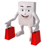 3d character with shopping bags. Happy 3d square shaped character carrying two red shopping bags, white background Royalty Free Stock Photography