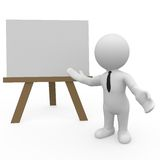 3D character showing blank board vector illustration