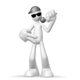 3d character singer. Isolated abstract 3D character on white background Royalty Free Stock Photo