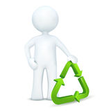 3d character standing with ecology symbol. Illustration of 3d character standing with ecology symbol on an isolated white background Royalty Free Stock Images