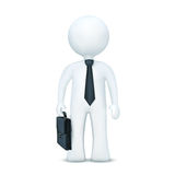3d character with suitcase and wearing tie. Illustration of 3d character with suitcase and wearing tie standing on an isolated white background Royalty Free Stock Image