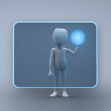 3D character Techy using. A touchscreen interface Royalty Free Stock Photo