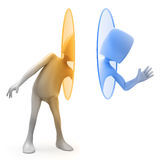 3D character Techy using. 3D cartoon character Techy using a teleportation portal Vector Illustration