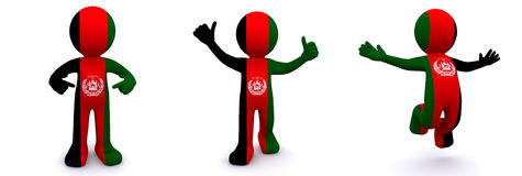 3d character textured with flag of Afghanistan Royalty Free Stock Photo
