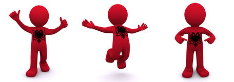 3d character textured with  flag of Albania Stock Image