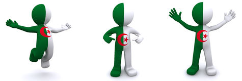 3d character textured with flag of Algeria Stock Images