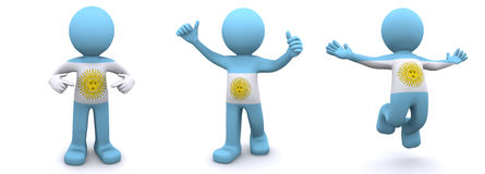 3d character textured with flag of Argentina Royalty Free Stock Photography