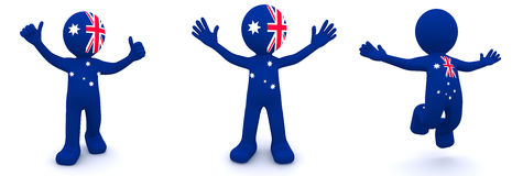 3d character textured with flag of Australia Royalty Free Stock Photos