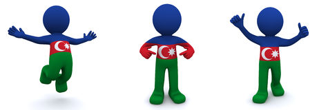 3d character textured with flag of Azerbaijan Stock Photos