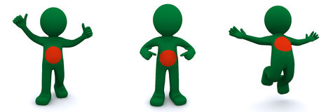 3d character textured with flag of Bangladesh Stock Photo