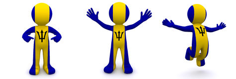 3d character textured with flag of Barbados Royalty Free Stock Image