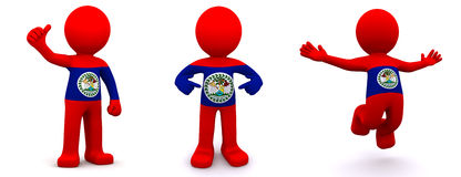 3d character textured with flag of Belize Royalty Free Stock Images