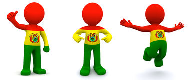 3d character textured with flag of Bolivia Stock Photo