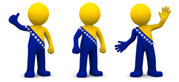 3d character textured with flag of Bosnia and Herzegovina Royalty Free Stock Images