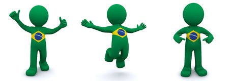 3d character textured with  flag of Brazil Royalty Free Stock Images
