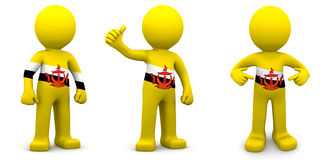 3d character textured with flag of Brunei Royalty Free Stock Image