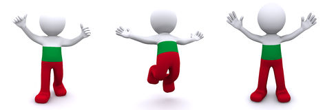 3d character textured with flag of Bulgaria Stock Photo