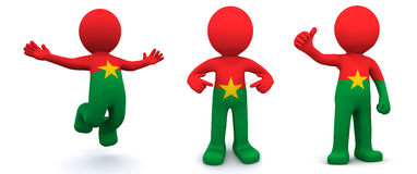 3d character textured with flag of Burkina Faso Stock Image
