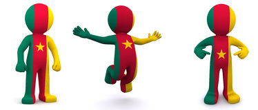 3d character textured with flag of Cameroon Stock Photo