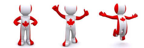 3d character textured with flag of Canada Royalty Free Stock Photography