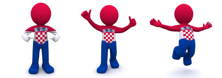 3d character textured with  flag of Croatia Royalty Free Stock Photography