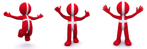 3d character textured with flag of Denmark Stock Image
