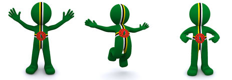 3d character textured with flag of Dominica Stock Image
