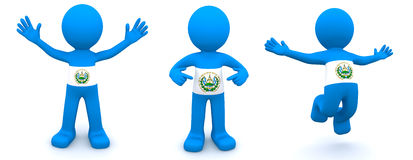 3d character textured with flag of El Salvador Royalty Free Stock Photography