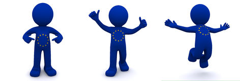 3d character textured with  flag of European Union Royalty Free Stock Photo
