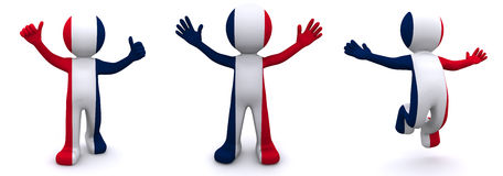 3d character textured with  flag of France Royalty Free Stock Images