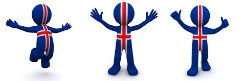 3d character textured with flag of Iceland Stock Photos