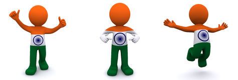 3d character textured with flag of India Royalty Free Stock Photos