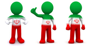 3d character textured with flag of Iran Royalty Free Stock Image