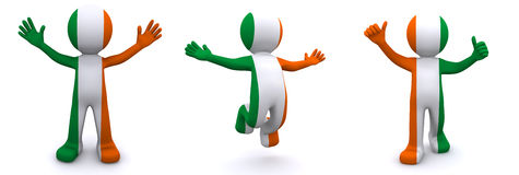 3d character textured with flag of Ireland Royalty Free Stock Photo