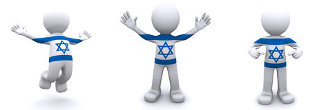 3d character textured with flag of Israel Stock Photography
