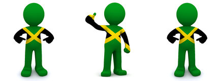 3d character textured with flag of Jamaica Royalty Free Stock Image