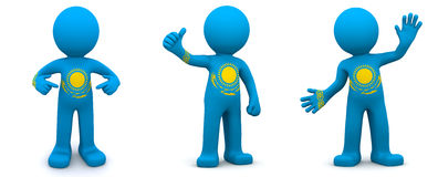3d character textured with flag of Kazakhstan Stock Photos