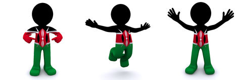 3d character textured with flag of Kenya Royalty Free Stock Photography