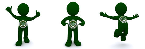 3d character textured with flag of League of Arab States Royalty Free Stock Photography