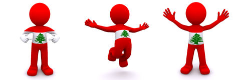 3d character textured with flag of Lebanon Royalty Free Stock Photography