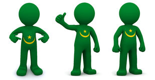 3d character textured with flag of Mauritania Royalty Free Stock Images