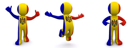 3d character textured with  flag of Moldova Royalty Free Stock Photography