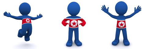 3d character textured with flag of North Korea Royalty Free Stock Photos