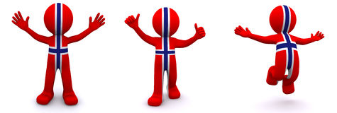 3d character textured with flag of Norway Stock Photo