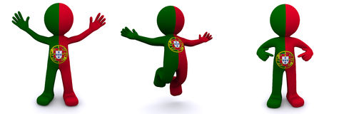 3d character textured with flag of Portugal Stock Photos