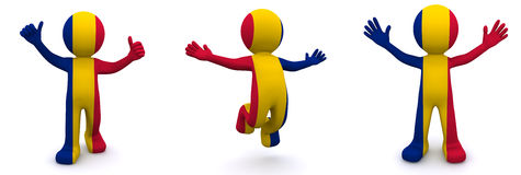 3d character textured with flag of Romania Stock Photos