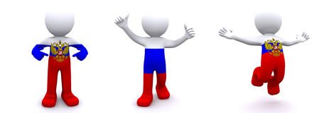 3d character textured with  flag of Russia Stock Image