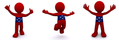 3d character textured with flag of Samoa. Isolated on white background Vector Illustration