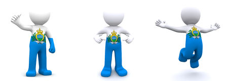 3d character textured with flag of San Marino Royalty Free Stock Image